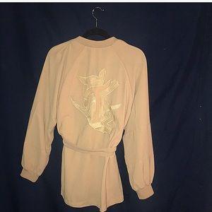 Beige vintage track jacket with waist tie